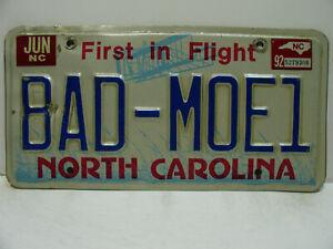 1992 North Carolina License Plate    BAD - MOE 1   Vanity    Vintage a9221