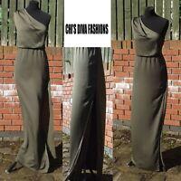 EX ASOS Olive One Shoulder Drape Maxi Dress Size UK 12, 16, 18