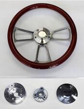 "67 68 Pontiac GTO Firebird Wood Steering Wheel Mahogany & Billet 14"" High Gloss"