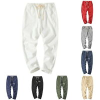 New Summer Men Fashion Slim Fit Cotton Linen Trousers Drawstring Casual Pant LO