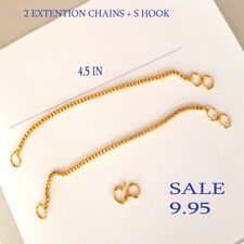 18k Yellow Gold Extender / Safety Chain Bracelet Necklace 2 X 4.5 in +  hook