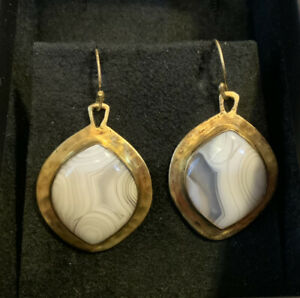 """Heather Benjamin """"Kalapa"""" Moroccan Agate Hammered Gold Plated Earrings. R4"""