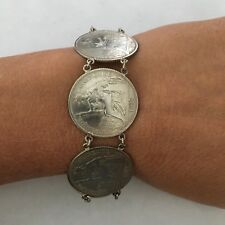 """Unique .680 Silver French Indo-China 20 Cent Coin Bracelet 7"""", S Clasp"""