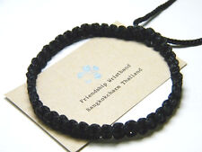 Authentic Thai Blessed Buddhist Wristband Fair Trade Wristwear Black Adjustable