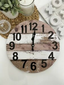 Clock Wall Country Farmhouse Brown White Rustic Wood Look Home House Decor 34cm
