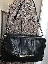 B. MAKOWSKY Women's Chain Strap LEATHER SATCHEL Shoulder Bag Silver HARDWARE