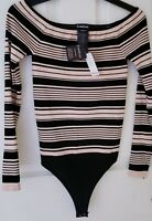 NWT bebe black and cream striped Off Shoulder Bodysuit SIZE S