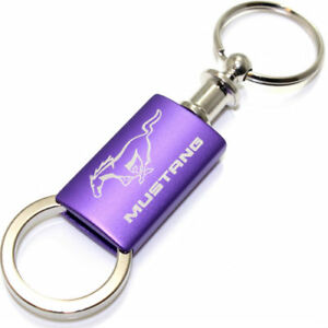 Ford Mustang Purple Logo Metal Aluminum Valet Pull Apart Key Chain Ring Fob