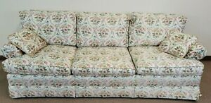 Baker Furniture Upholstered Sofa with High End Needlepoint Fabric 3 Cushion Sofa