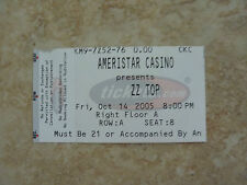 ZZ Top Ameristar Casino Show Ticket Stub  RARE 2005