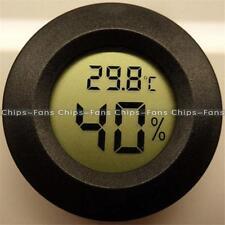 1PCS Digital LCD Cigar Humidor Hygrometer Thermometer Round Black Face
