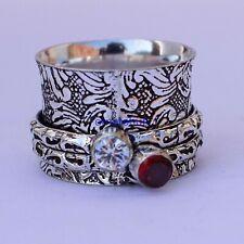Solid 925 Sterling Silver Crystal $Garnet Gemstone Meditation Ring Size 9 Ms12