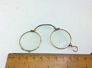 Antique Victorian Gold Pince Nez Spectacles Nose Pinch Folding Glasses Lorgnette