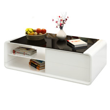 Stylish White High Gloss Coffee Table Tempered Glass Top With 2 Drawers Storage
