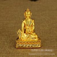 HEALING! BLESSED TIBETAN BUDDHA GOLD GILT STATUE: MEDICINE BUDDHA & GIFT BOX =