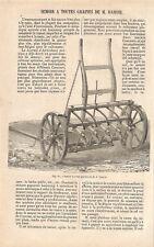 """AGRICULTURE """" SEMOIR TOUTES GRAINES DE M. HAMOIR """" ADP DE GUIGUET 1862"""