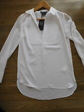 NWT Armani Exchange A|X pleated popover Collar Top White XS 1 2 3