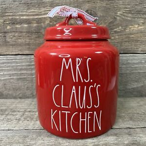 Rae Dunn Mrs Claus's Kitchen Red Chubby Canister Cookie Jar Christmas