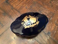 Limoge Castel Jewelry Trinket Case - 22k Gold Leaf - France