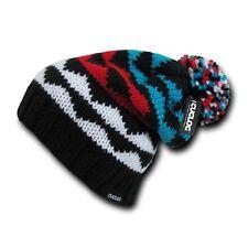 Black Red White Blue Woven Warm Winter Ski Pom Pom Knit Slouch Beanie Cap Hat