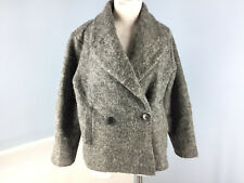Pink Martini Boutique Collection M Gray Peacoat Coat Oversized Wool Blend EUC
