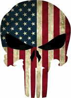 Punisher Skull American Flag Sticker Vinyl Decal 2-512