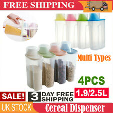 4Large Cereal Dispenser Dry Food Pasta Rice Storage Container Plastic Box UK-EE