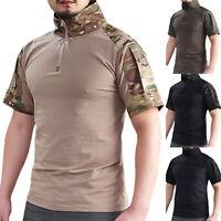 Men Summer Tactical Camo Combat Shirt Moisture Wicking T-Shirt Short Sleeve Tops