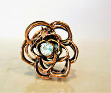small mini rose gold copper metal flower rose hair claw clip with crystals