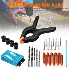 34pcs Pocket Hole Jig Step Drill Woodworking Carpentry Kit For Joinery Tool
