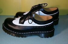 Dr Martens Vintage Black White Wingtip Shoe Leather UK9 Size 10M 11L Women's Doc