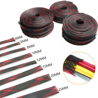 10M 4-25mm Black&Red Braided Cable Cover Sleeving Wire Loom Harness Sheathing