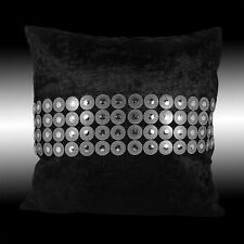 SHINY CIRCLES SILVER BLACK THICK VELVET THROW PILLOW CASE CUSHION COVER 17""