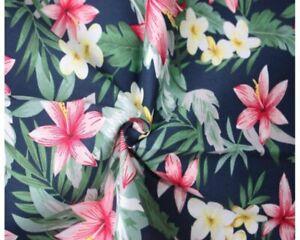 Tropical Floral Cotton Poplin (Navy) – per half metre