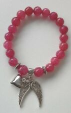 Ruby Aura Quartz Angel Wings Heart Bracelet - LOVE - Crystal Gemstone Healing