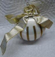 White Ball Ornament Gold Stripes Gold Ribbon Bow Vintage Christmas Decoration