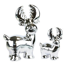 2 Shiny Silver Reindeer Shaped Decorations 17cm and 9cm Chrome Plated