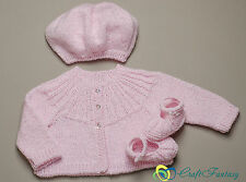 New Hand Knitted Baby Girl Sparkle Pink Cardigan Beret and Shoes Set 0-6 months