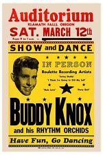 1950's Rockabilly: Buddy Knox at Klamath Falls Concert Poster 1957