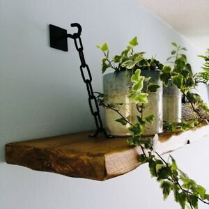"""2 x Rustic / Industrial """"Floating"""" Shelf Brackets with Chain NEW (1xPair)"""