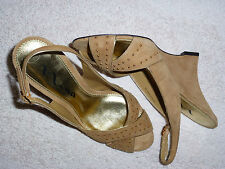 BRAND NEW NINA SUEDE OPEN TOE SLINGBACK WEDGE WITH GOLD STUDS