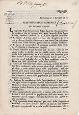 DOCUMENTO BARLASSINA MONZA BRIANZA 1816 ALLE DEPUTAZIONI COMUNALI  4-184