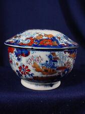 ORIENTAL FLOW BLUE POLYCHROME COREY HILL ENGLND LARGE COVER JAR PART DRESSER SET