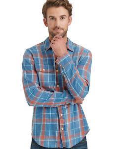 Lucky Brand Men's Axe Indigo Mason Workwear Button Front Shirt XL NWT Plaid LS