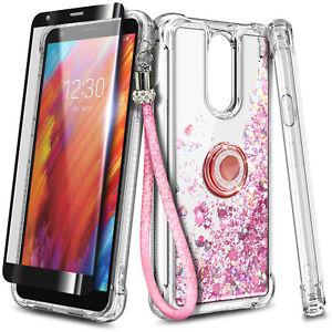 For LG Journey LTE Case, Liquid Glitter Cover + Tempered Glass & Lanyard Strap