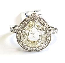 3.18Ct Rose Cut Pear Shape Diamond Halo Ring , Platinum