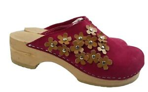 Sanita Wooden Clogs Womens 37 Pink Suede Floral Mules