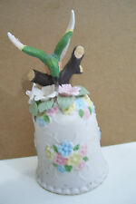 Ceramic Doctor Bird Floral Decorated Feeding In Tree For Handle Figurine