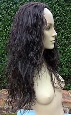 dark brown wavy curly frizzy puffy 3/4 half head long hair wig fancy dress