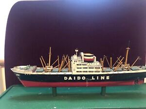 Wooden  Ship Model Japanese Steamship Line Vintage   MS Kochi Maru